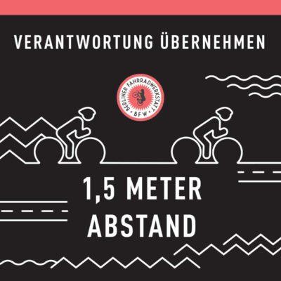 Abstand halten beim Fahrradfahren - Verantwortung übernehmen - Berliner Fahrradlwerkstatt